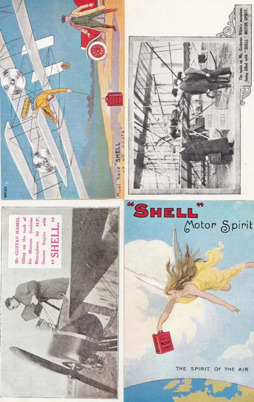 Shell Garage Petrol Gliders Plane Comic 4x Advertising Postcard s