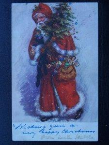 WISHING YOU A HAPPY CHRISTMAS Santa & Toys c1902 UB Postcard Raphael Tuck 1803