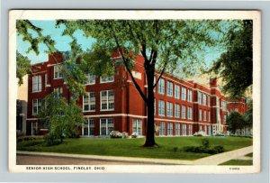 Findlay OH, Senior High School, Vintage Ohio Postcard