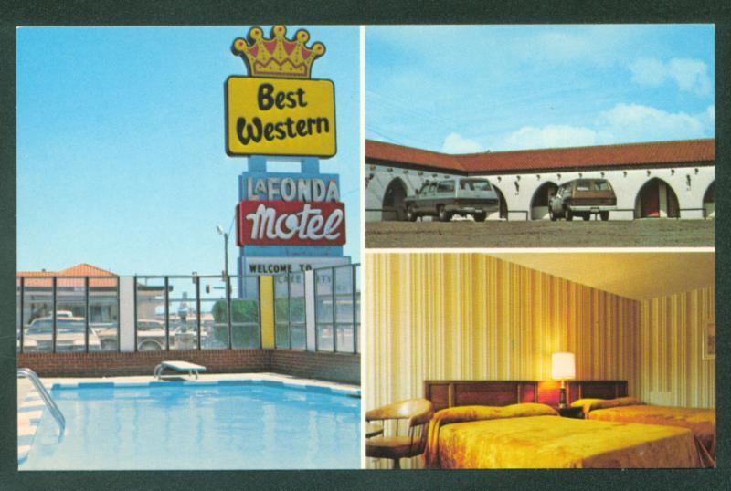 Lundys Best Western LaFonda Motel and Restaurant Swimming Pool KANSAS Postcard