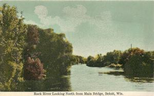 Beloit Wisconsin~Rock River Looking North from Main Bridge~Trees along Shore '10
