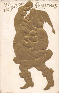 D12/ Santa Claus Merry Christmas Holiday Postcard c1910 Gold Embossed Snowball27