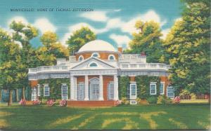 Monticello, Home of Thomas Jefferson, Virginia, Early Linen Postcard, unused
