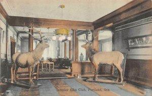 LPS85 Portland Oregon Interior View Elks Club Hand Colored Postcard