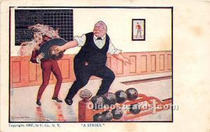 Old Vintage Bowling Postcard Post Card A Strike 1908
