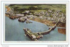 Air view of Petersburg, Alaska, AK, White border