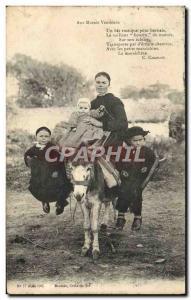 Old Postcard Donkey Mule To marsh VENDEENS Female Children