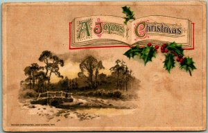 Vintage Winsch A JOYOUS CHRISTMAS Postcard Winter Bridge Scene c1910s Unused