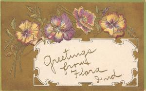 Flora Indiana~Pansy Greetings from D.E. Trent~Gold Back Embossed~1910 Postcard