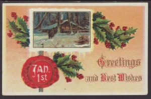 New Year Greetings,House Postcard
