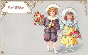 Victorian Boy & Girl Carry Flower Bouquets~Hold Hands~Purple Yellow Dress~Emboss
