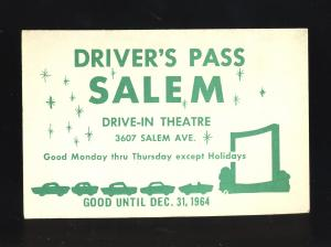 1964 Salem Drive-In Theatre Driver's Pass, Dayton, Ohio/OH