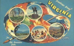 Greetings from, Virginia Postcard     ;       Greetings from, VA Post Card