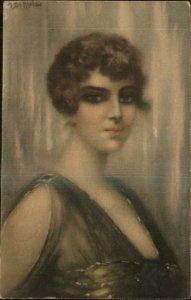 Beautiful Woman Eye Makeup Low-Cut Dress FRINELLI c1915 Postcard