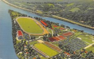 Wheeling Island WV~Birdseye Wheeling Downs Race Track~Football Stadium~1940s PC