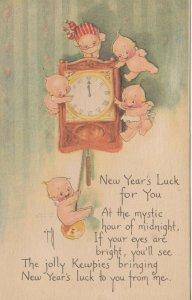 Kewpies ; NEW YEAR Clock at midnight , 1900-10s , AS Rose O'Neill