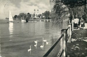 Germany Postcard Friedrichschafen am Bodensee sailing boat swans lake promenade