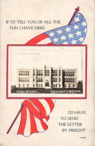 G34/ Mahnomen Minnesota RPPC Postcard c1910 Patriotic High School 19
