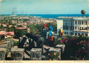 Postcard Liberia Monrovia Masonic Temple cityscape panorama old cannon