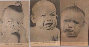 3 Novelty Baby Squeaker Portraits , 1940-50s