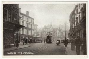 Sussex; Hastings, The Memorial PPC, Unposted, c 1910's, Shows Trams & Barrowboy