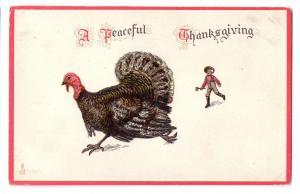 Tuck Thanksgiving Postcard Vntg Farmer with Ax Chasing Turkey Embossesd Glitter