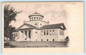 EMPORIA, Kansas KS ~ ANDERSON MEMORIAL LIBRARY c1900s UDB Lyon County Postcard