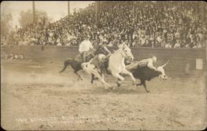 Cowboy Rodeo Guy Schultz Bulldogging c1920 Real Photo Postcard
