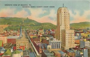 Reading Pennsylvania~Birdseye Downtown~Rooftops~Berks County Court House~1943