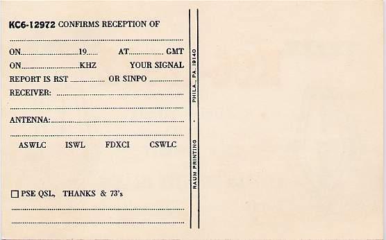 Short Wave Radio Listener Card Truk Islands Eastern Caroline Islands Micronesia
