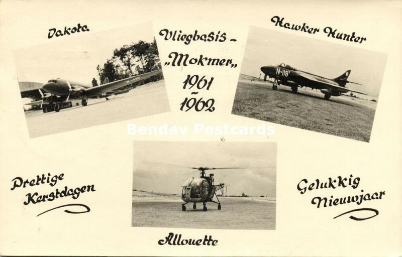dutch new guinea, BIAK, Mokmer Airport, Dakota, Allouette (1961) RPPC Stamp
