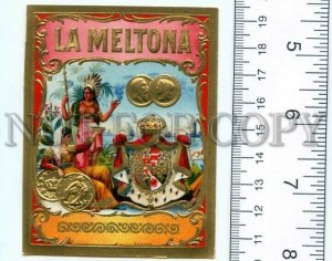 500105 LA MELTONA Vintage embossed cigar box label