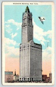 New York City~Bi-Plane Buzzes the Woolworth Building~Skyscraper~1927 Postcard