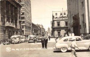 F55/ Mexico City Mexico Foreign RPPC Postcard c40s 396 Avenue Bus Stores