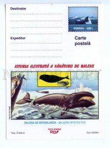 d419423 ROMANIA 2001 year whale whalers postal postcard POSTAL stationery