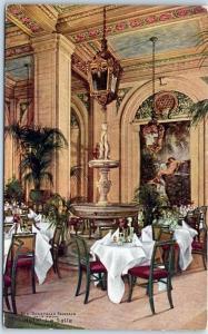 1910s Chicago Postcard HOTEL LA SALLE Palm Room Restaurant Interior View Unused