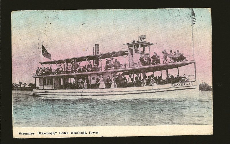 USA Postmarked 1911 Steamer OKOBOJI Lake Okoboji Iowa Postcard