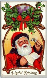 SANTA CLAUS Postcard Reading Glasses / List A Joyful Christmas STECHER 230D