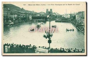 Old Postcard Rive de Gier Water's holiday on the canal basin