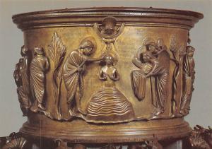Belgium Fonts Baptismaux de Renier de Huy, Doopsel van Christus door Johannes