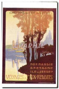 Old Postcard Train Railways of Britain & # 39Etat Normandy Island of Jersey