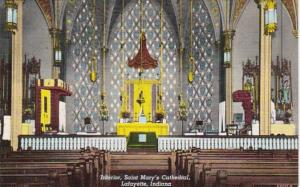 Indiana Lafayette INterior St Mary's Cathedral Curteich