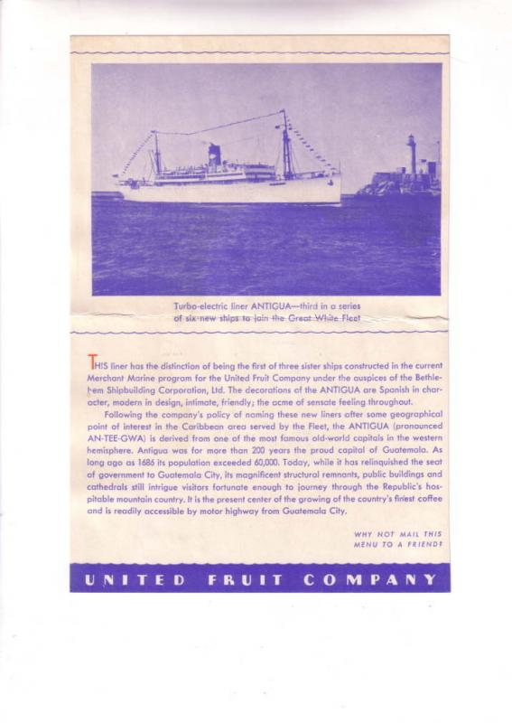 TSS Peten Cruise Ship Dinner Menu, Great White Fleet, At Sea, July 24, 1934,