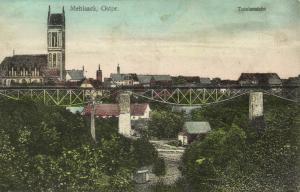 poland, MEHLSACK PIENIEZNO, East Prussia, Panorama, Railway Bridge (1915)