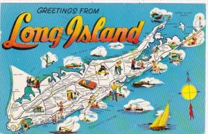 Greetings From Long Island With Map 1959