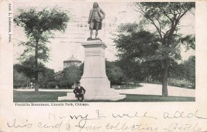 Franklin Monument, Lincoln Park, Chicago, Illinois, Early Postcard, Used in 1904