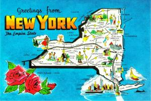 Postcard of New York State and Highway Map