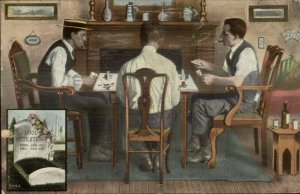 Men Playing Poker Cards Chips Smoking Grave Stone c1910 Postcard