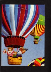 Hot Air Balloons Dressed Bears Dorie P Petrochko Artist Art Deco Postcard