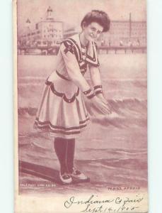 Pre-Linen Risque SEXY GIRL AT THE BEACH AB6043